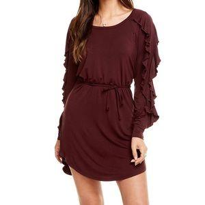 Chaser Cool Jersey Ruffle Raglan Shirt-Tail Dress